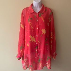 Lane Bryant designs and company floral pink shirt
